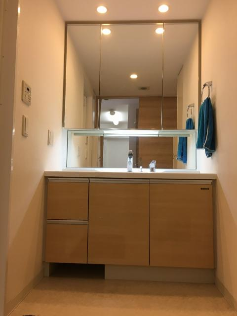 大型洗面化粧台。3面鏡の裏は全て収納です。